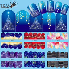 1pcs Nail Art Christmas Water Transfer Tips Snowflake Blue Full Wraps Patterns Temporary Sticker Nails DIY Tool TRBN205-216(China)