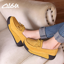 O16U Spring Women Casual shoes suede Genuine Leather Platform Flats Tassel wedge Slip-on ladies creepers shoes red Fur Winter