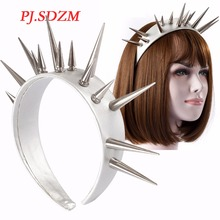 PJ.SDZM Cool Punk Overlength Rivet Leather Hairband T Stage Hottest Headband Night Club Hair Accessory Hip Hop Star Headwer