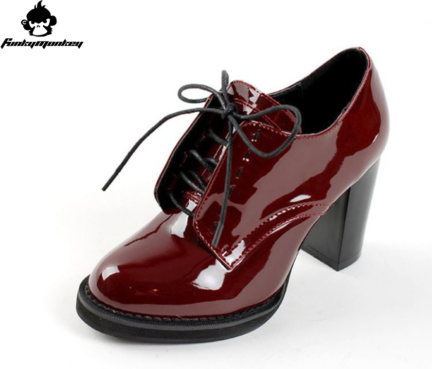 2016 UK Brand Designer Women Shoes Patent Leather Woman Ankle Boots 8CM Heels Brogue Shoes Lace Up Ladies Boots For Women Boots(China)