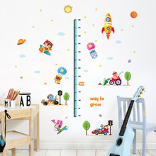 Solar System Rocket Height Measure Chart Wall Stickers For Kids Rooms Outer Space Sky Rocket Wall Decals Astronaut Monkey Decor(China)