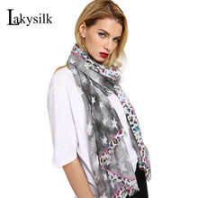 [Lakysilk]New 2018 Leopard Print Scarf Women Cotton Star Scarves Head Muslim Hijab Ladies Large Long Shawl For Spring Summer(China)