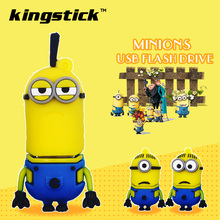 Cartoon Minions Usb Flash Drive 16GB silicone USB Stick 32GB Pen Drive 64GB 8GB cheap Pendrive Flash Drive 4G USB Gift(China)