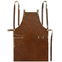 Full Grain Cow Leather Apron Barista Bartender Chef Cafe Bistro Catering Uniform Barber Salon Tattoo Shop Carpenter Work wear L2(China)