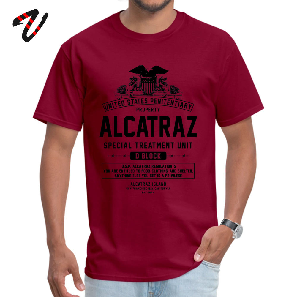 ALCATRAZ S.T.U. Newest Short Sleeve Geek Top T-shirts 100% Cotton O-Neck Men Tops Shirt Birthday T Shirts ostern Day ALCATRAZ S.T.U. 6276 maroon
