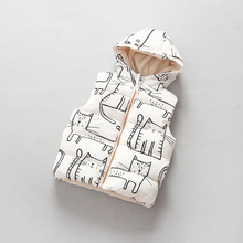 Infant Baby Toddler Girl white Vest for winter thick coat boys cartoon cat printed zipper jackets girls boy warm clothing vest