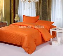 100% cotton hotel bedding sets,flat/fitted bed sheet hotel bedlinen,king/queen/full size striped oranger color bed sheet sets