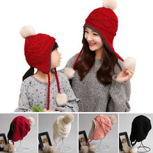 Children Hats Winter Racoon Pom Pom Fur Hats For Kids Girls And Boys Baby Crochet Ear Flap Hat Winter Kids Caps With Plush Inner(China)