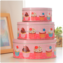 Free Shipping!New Pink Cup Cake Case Metal Round Storage Box Handmade Biscuit Box Gift Case 3pcs/set Candy Box(China)