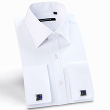 Mens Luxury French Cuff Solid Dress Shirts Spread Collar Long Sleeve Regular-Fit Formal Business Twill Shirt(Cufflinks Included)