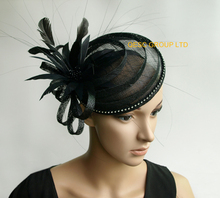 NEW Black sinamay fascinator mini hat  with feathers&rhinestones for formal occasion.FREE SHIPPING