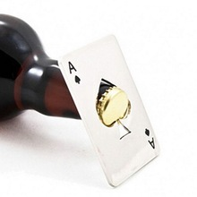 by dhl or ems 100pcs New Stylish Hot Sale Poker Playing Card Ace of Spades Bar Tool Soda Beer Bottle Cap Opener Gift