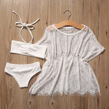 2017 Toddler Baby Girls Kids  3PCS Beachwear + Lace Blouse Dress Bikini Set Beach Bathing Suit Swimsuit Swimwear Outfits 1-7Y