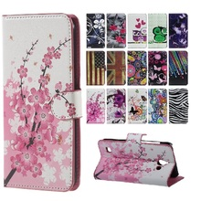 Plum Pattern Leather Cover for Huawei Y 550 L01 Flip Wallet Holder Mobile Phone Cases Coque for Huawei Y550-L01 Case Accessory