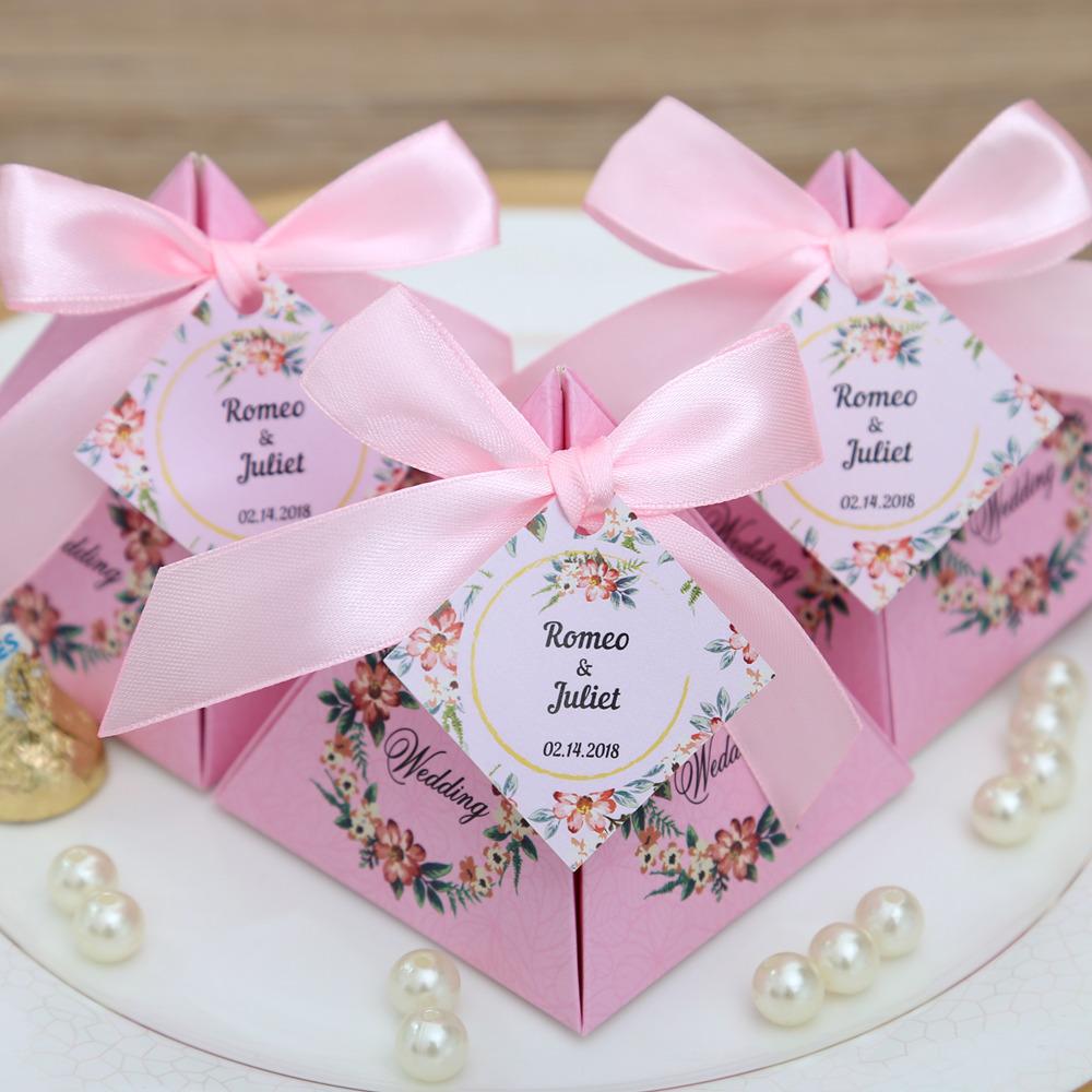 50 pcs/lot Pink/ Purple/ Tiffany Blue Floral Pyramid Wedding Favor ...