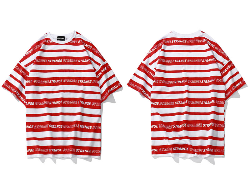Striped Full Letter TShirts 1