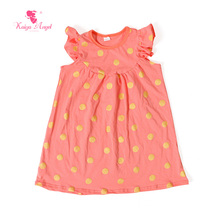 Kaiya Angel 2017 Kids Clothes Orange Dress With Gold Point Dot Summer Dresses Hot Sale Clothes For Girls 1-8T Children `s Dress