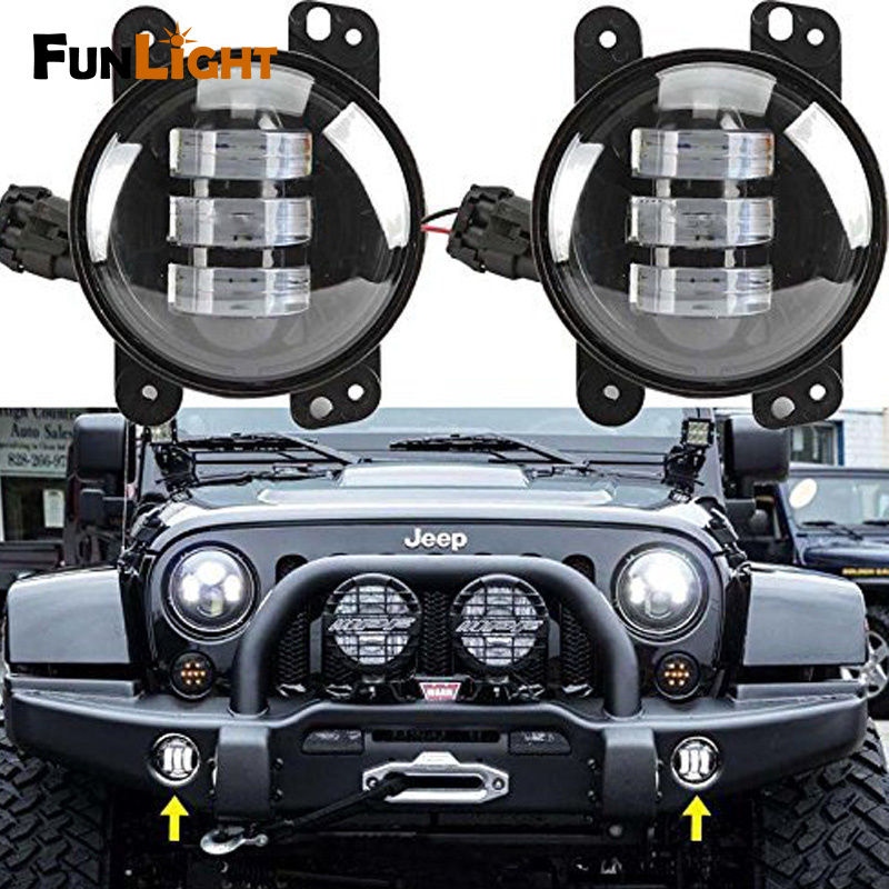 4 Led Fog Lights for Jeep Wrangler JK Led Fog Lamps Bulb Auto Projector Headlight Driving Offroad Lamp for Jeep Wrangler <br>