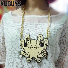 Buy KUGUYS Trendy Gril's Jewelry Gold Octopus Big Pendant Necklace Women HipHop Mens Necklace Sweater Chain Fashion Accessories for $5.80 in AliExpress store