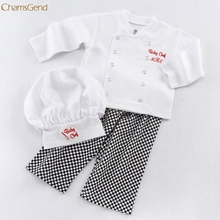 Children Clothing Chef Cosplay Outfits Baby Boys Baby Chef T-Shirt Tops+Pants Cap Kids Clothes Set oct Girls Clothes(China)