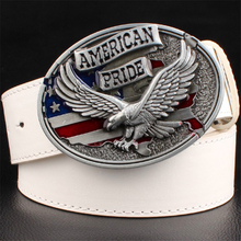 Buy Personality men's leather belt bald eagle American pride male leather buckle metal belt flying eagle casual belts gift men for $9.46 in AliExpress store