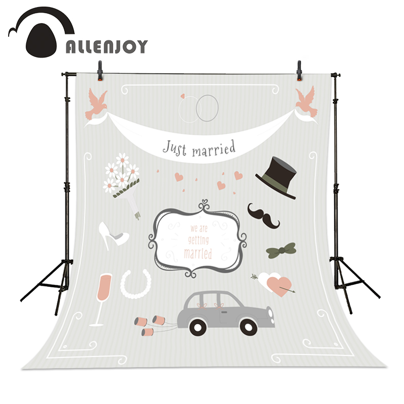 Allenjoy Wedding backdrops Cars heels hat juse married flowers romantic welcome background photography studio 2016<br><br>Aliexpress