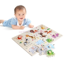 Wooden Puzzle Toy Baby Hand Grasp Kid Early Educational Toys Animal Learning#h055#(China)