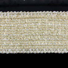 5yard 52mm Braided Gold Elastic Stretch Ribbon Webbing Band Belt Applique Venice Sewing for DIY Costumes Dress T1486