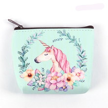 Cute Girl Kids Coin monederos soporte Kawaii Animal unicornio Flamingo mujeres Mini cambiar carteras dinero bolsa niños cremallera bolsa regalo(China)