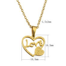 Fashion Stainless Steel Necklace Heart word love Pendant gold color plated for woman Personality Statement Jewelry 18 Inch