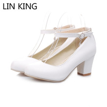LIN KING Women Pumps Round Toe Solid Thick Square Medium Heel Buckle Lolita Shoes Ankle Strap Praty Platform Shoes Big Size
