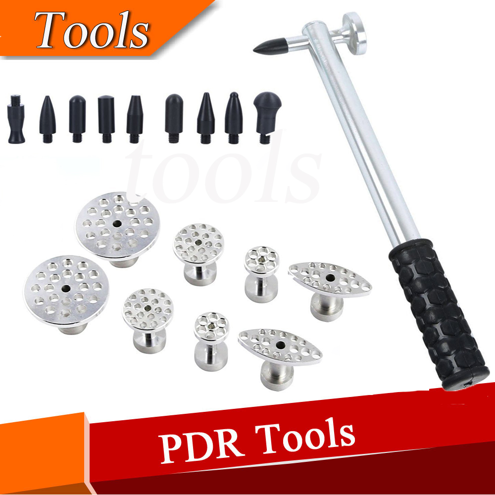PDR Tool Dent Hammer with 8pcs Head Screw-On Tip &amp; 8pcs 4 Size Aluminum Glue Puller Tabs<br>