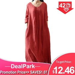 Винтажное хлопковое платье-макси с V-образным вырезом, длинным рукавом, большого размера