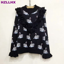HZLLHX swan pattern lotus leaf collar O neck thick sweater women ladies Elegant and lovely knitting top wool sweaters