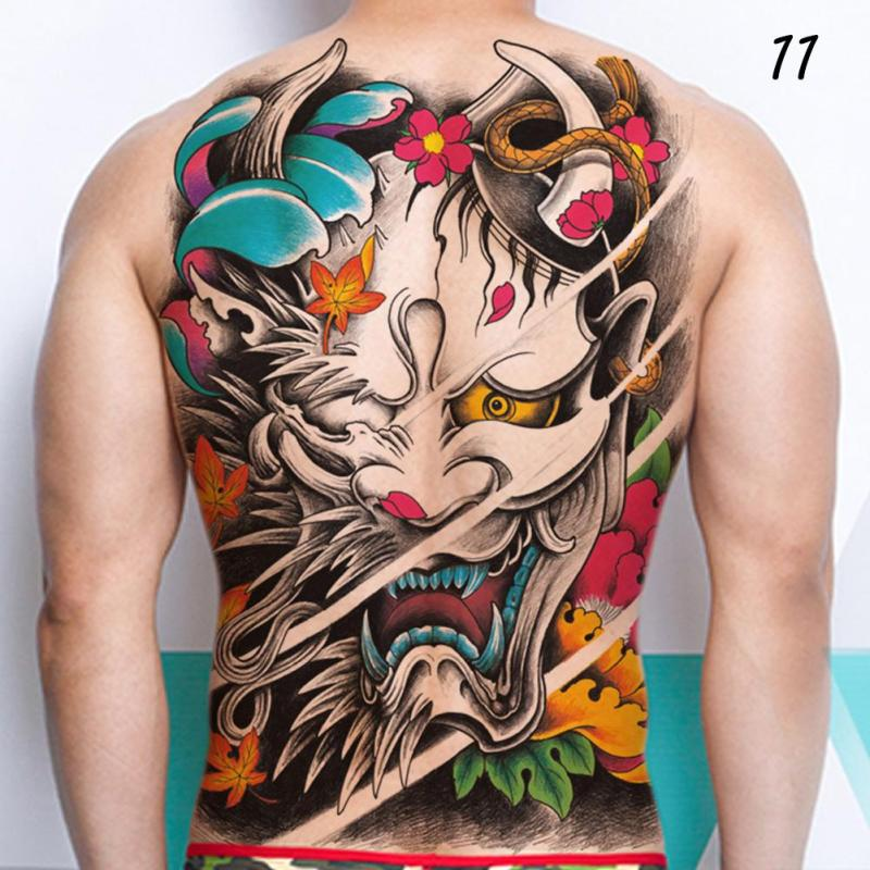 48*35cm Big size buddha ghost totem tattoo stickers men women waterproof full back body temporary tattoos RP2 12