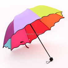 2015 new plain simple three folding umbrellas009 rainbow arched Apollo princess umbrella folding umbrella UV(China)