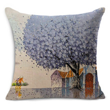 Cheap car seat linen cushion Nordic Vintage season trees outdoor chair cushions home decor for sofas pillow free ship MYJ-1607(China)