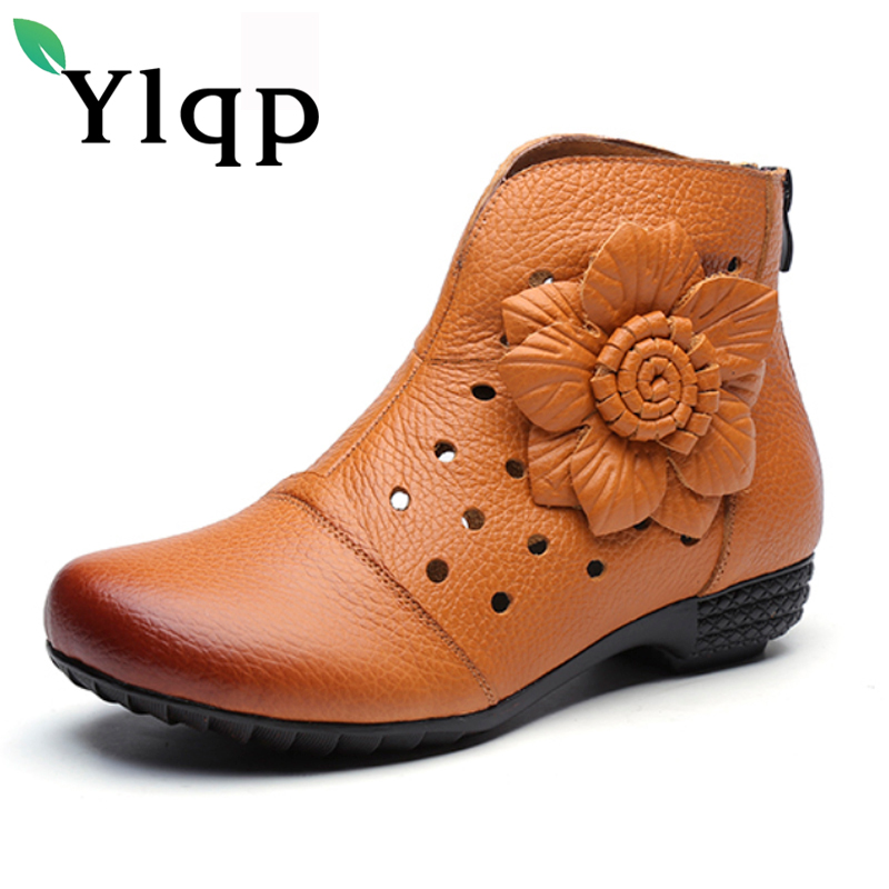 Ylqp 2018 Autumn Womens Genuine Leather Shoes Vintage Flower Hollow Out Cowhide Boots Retro Comfortable Low Heel Female Boots<br>