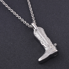 IJD9827 Unique Boot Cremation Urn Pendant Men Charm,WHOLESALE Stainless Steel Human Ashes Keepsake Memorial Necklace for Men