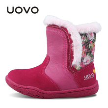 UOVO Little Girls Boots Faux Fur Plush Kids Boots Glitters Children Boots Soft Sole Winter Boots for Toddler baby Girl shoes(China)