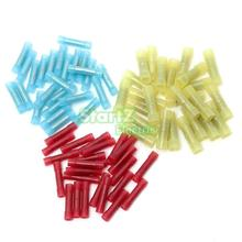 Hot 25PCS 12-10 16-14 22-18 AWG Nylon Heat Shrink Butt Wire Crimp Terminal Connector Electrical 3 Colors Blue Yellow Red