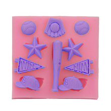 Sports baseball bat cap hat Silicone Fondant Soap 3D Cake Mold Cupcake Candy Chocolate Decoration Baking Tool Moulds FQ1629(China)