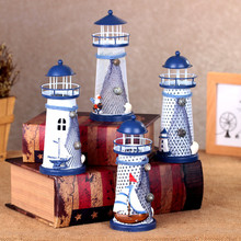 3size Metal Crafts Mediterranean Style Lighthouse Metal Crafts Model Ornament Craft Gift Home Decoration Accessories Miniature