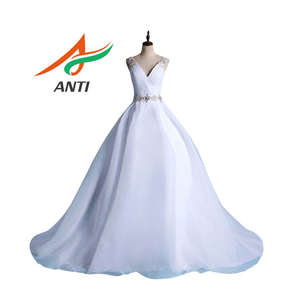 ANTI High-end Chapel Train Crystal Wedding Dress Robe De Mariage V-neck Beading Appliques Vestido De Noiva Organza Bride Gowns