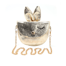 THINKTHENDO 2017 Kids Girls Rabbit Shoulder Messenger Bags Children Handbag Baby Metal Chain Faux Leather Animal Printing Bags(China)