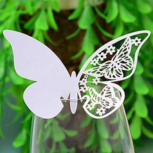 DIY 20pcs Butterfly Place Escort Wine Glass Cup Paper Card for Wedding Party Home Decorations White  Pink  Name Cards