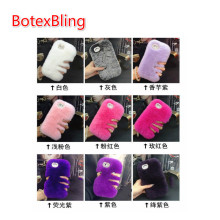 BotexBling Real Rabbit hair Case for iPhone X 8 8Plus 7 6 6s plus 6plus 5s se 7plus Shiny Fur Rhinestone Plush Furry Back Cover(China)