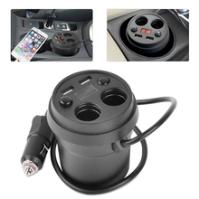 CITALL Car Auto 2 Socket Cigarette Lighter Dual USB Voltage Power Charger Adapter Cup LED Display for Mercedes Audi A4 A6 Mazda(China)