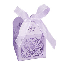 100pcs Pearlescent Paper Candy Box Wedding Party Favor Hollow Low Heart Gift Box Bags