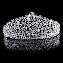Luxury Silver Color Large Diamante Wedding Pageant Tiara Headband Crystal Bridal Crown For Bride Hair Jewelry Headpiece Hairwear(China)